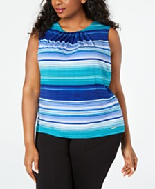 Calvin Klein Plus Size Pleated Striped Top