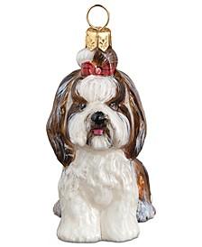 Shih Tzu Top Knot Brown & White Pet Charity Ornament