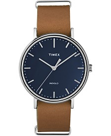 Timex Fairfield Slip-Thru 41mm Leather Strap Watch