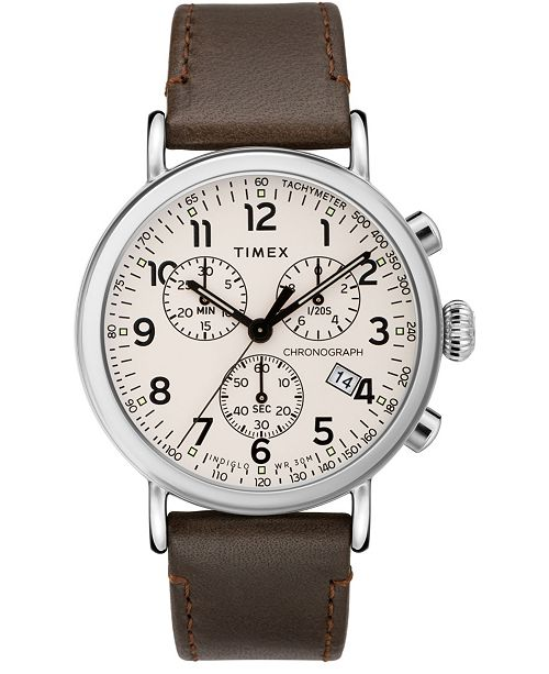 Timex Boutique Timex Standard Chronograph 41mm Leather Strap Watch