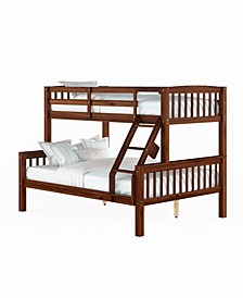 Dakota Walnut Brown Twin/Single over Full/Double Bunk Bed
