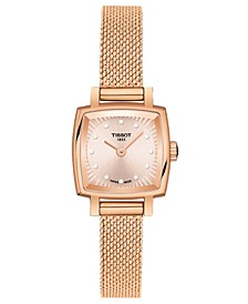 Women's Swiss T-Lady Lovely Diamond Accent Rose Gold Mesh Bracelet Watch 20mm