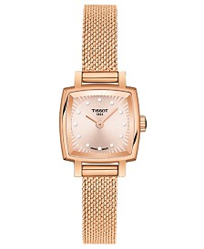 Tissot Women's Swiss T-Lady Lovely Diamond Accent Rose Gold Mesh Bracelet Watch 20mm