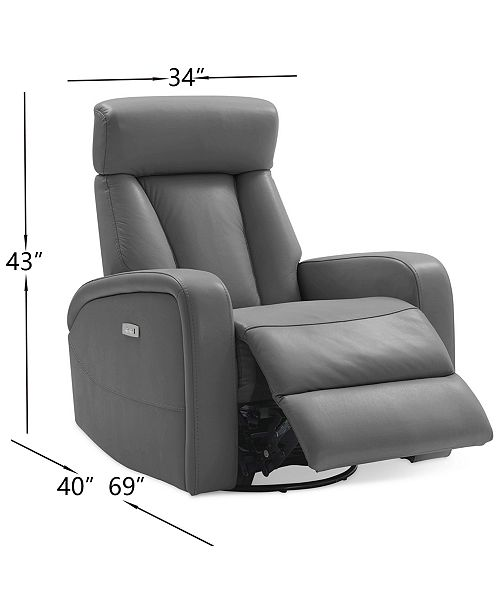Enjoyable Dasia Leather Swivel Rocker Power Recliner With Articulating Headrest And Usb Power Outlet Machost Co Dining Chair Design Ideas Machostcouk