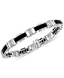 Men's Onyx & Diamond (1/4 ct. t.w.) Bracelet in Sterling Silver