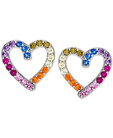 Giani Bernini Cubic Zirconia Rainbow Heart Stud Earrings in Sterling Silver, Created for Macy's