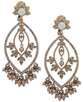 ef6376a9027 Marchesa Gold-Tone Crystal, Stone & Shaky Imitation Pearl Chandelier  Earrings