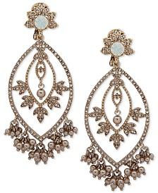Marchesa Gold-Tone Crystal, Stone & Shaky Imitation Pearl Chandelier Earrings