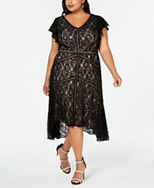 Taylor Plus Size Flutter-Sleeve Lace Dress