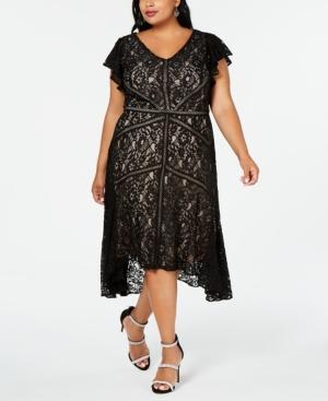 Vintage 1920s Dresses – Where to Buy Taylor Plus Size Flutter-Sleeve Lace Dress $144.00 AT vintagedancer.com