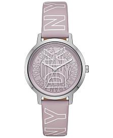 DKNY Women's Modernist Lilac Logo Polyurethane Strap Watch 36mm