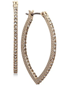 Marchesa Gold-Tone Pavé Navette Hoop Earrings