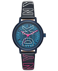 DKNY Women's Modernist Navy Logo Leather Strap Watch 36mm