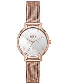 DKNY Women's Modernist Rose Gold-Tone Stainless Steel Mesh Bracelet Watch 32mm