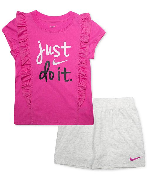 eb778c37 Nike Toddler Girls 2-Pc. Just Do It Ruffled Logo T-Shirt & Scooter ...