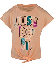Little Girls Just Do It Logo Tie-Front T-Shirt