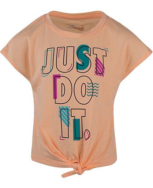Nike Little Girls Just Do It Logo Tie-Front T-Shirt