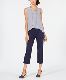 Style & Co Striped Sleeveless Top & Utility-Pocket Capris, Created for Macy's
