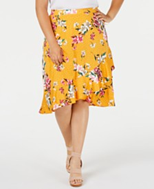Monteau Trendy Plus Size Ruffled Faux-Wrap Skirt