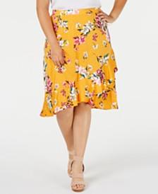 Monteau Trendy Plus Size Ruffled Faux-Wrap Skirt