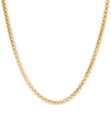 "Italian Gold Rounded Box Link 24"" Chain Necklace in 14k Gold"