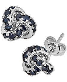 Sapphire Love Knot Stud Earrings (4 ct. t.w.) in 14k White Gold