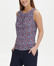 Tommy Hilfiger Floral-Print Neckline-Cutout Top, Created for Macy's