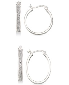 Simone I. Smith Glitter Hoop Earrings Set in 18k Gold Over Sterling Silver or Sterling Silver