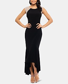 XSCAPE Petite Embellished-Shoulder High-Low Dress