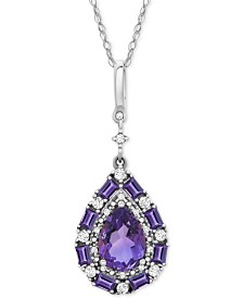 "Amethyst Pear Cluster 18"" Pendant Necklace (7/8 ct. t.w.) in Sterling Silver"