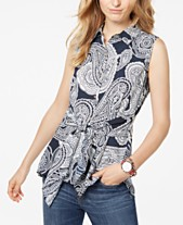 5303e0c4ff4 Tommy Hilfiger Printed Front-Tie Sleeveless Top, Created for Macy's