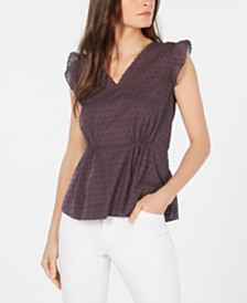 Anne Klein Cotton Flutter-Sleeve Top