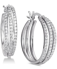 Cubic Zirconia Triple Hoop Earrings in Sterling Silver, Created for Macy's