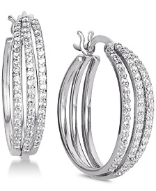 Giani Bernini Cubic Zirconia Triple Hoop Earrings in Sterling Silver, Created for Macy's