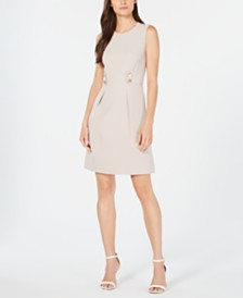 Anne Klein Tab-Waist Fit & Flare Dress