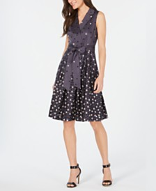 Anne Klein Dot-Print Faux-Wrap Dress