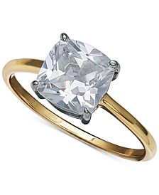 Cubic Zirconia Solitaire Ring in 18k Gold Over Sterling Silver, Created for Macy's