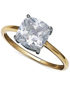 Giani Bernini Cubic Zirconia Solitaire Ring in 18k Gold Over Sterling Silver, Created for Macy's