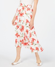 JM Collection Textured Floral-Print Gauze Skirt, Created for Macy's