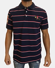 Heritage America Men's Striped Embroidered Polo