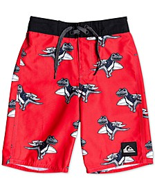 "Little Boys Everyday Dinos Performance-Fit 14"" Board Shorts"