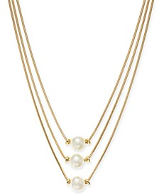 "Gold-Tone Imitation Pearl Three-Row Necklace, 17"" + 2"" extender, Created for Macy's"