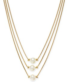 "Alfani Gold-Tone Imitation Pearl Three-Row Necklace, 17"" + 2"" extender, Created for Macy's"
