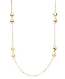 "Alfani Gold-Tone Imitation Pearl Station Long Necklace, 42"" + 2"" extender, Created for Macy's"