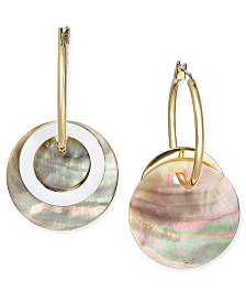 I.N.C. Gold-Tone Imitation Shell Disc Cluster Drop Earrings, Created for Macy's
