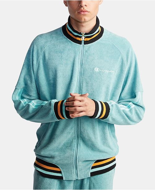 Champion Men's C-Life Terry Varsity-Stripe Warm-Up Jacket