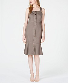 Button-Front Flounce-Hem Dress