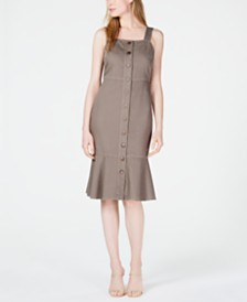 OAT Button-Front Flounce-Hem Dress