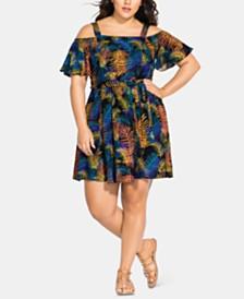 City Chic Trendy Plus Size Little Palm Cold-Shoulder Dress