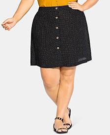 Plus Size Button-Trim Dot-Print Skirt